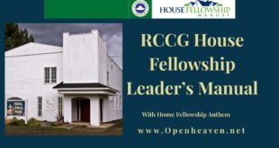 RCCG HOUSE FELLOWSHIP LEADERS' MANUAL 7TH FEBRUARY 2021 LESSON: 23