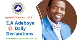 Today's Daily Declaration for Tuesday 30th June, 2020 By Pastor E.A Adeboye