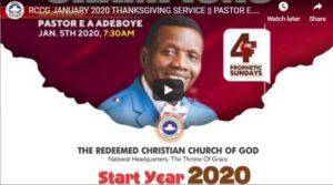 RCCG JANUARY 2020 THANKSGIVING SERVICE