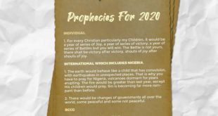 RCCG prophecy for 2020