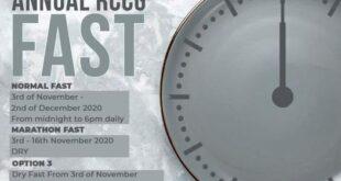RCCG Fasting Prayer Points DAY 15 TUESDAY 17TH NOVEMBER 2020