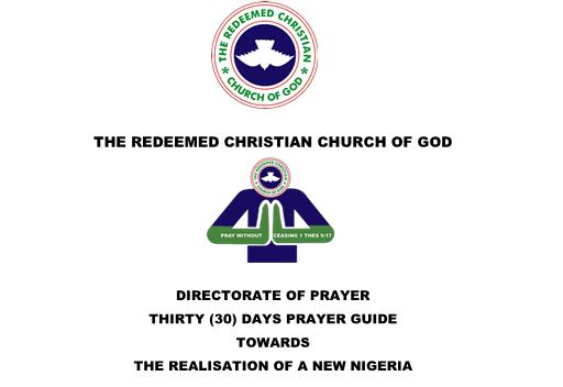 THE REDEEMED CHRISTIAN CHURCH OF GOD DIRECTORATE OF PRAYER THIRTY (30) DAYS PRAYER GUIDE