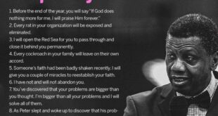 Words of Prophecy By E.A Adeboye July 2021